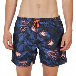 Pánske plavky BRUNOTTI-Tasker-Flower Mens Shorts-0524 Jeans Blue