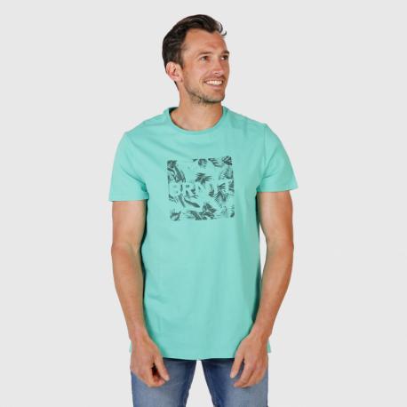 Pánské triko s krátkým rukávem Brunotti-Tim-Print Mens T-shirt-0634-Carribean green