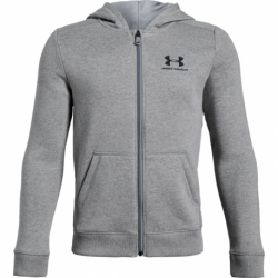 Chlapčenská mikina so zipsom UNDER ARMOUR-EU Cotton Fleece Full Zip-GRY