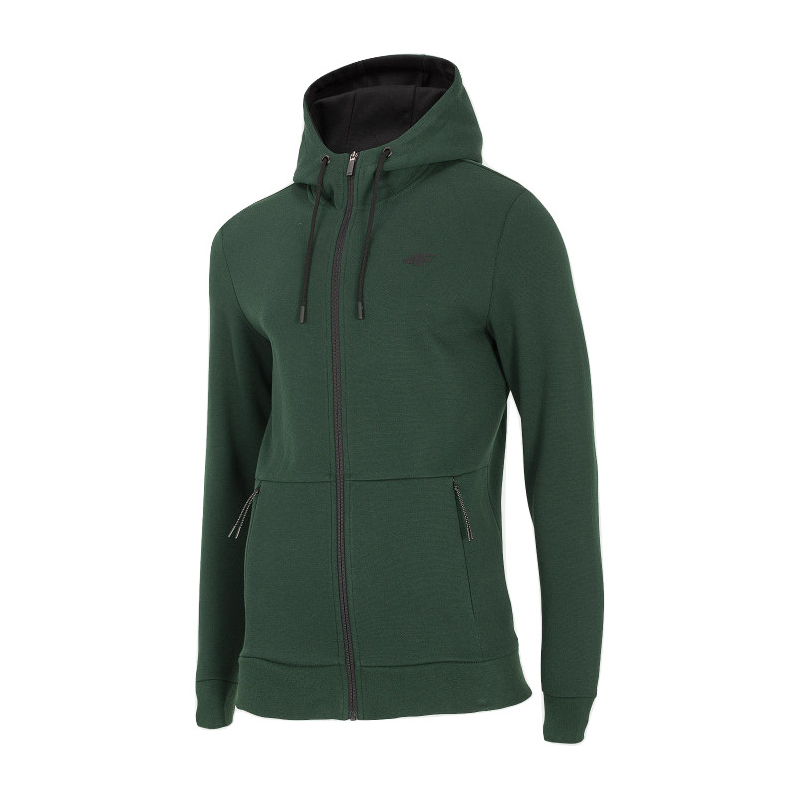 Pánska mikina so zipsom 4F-MENS SWEATSHIRT-H4Z20-BLM024-40S-DARK GREEN -