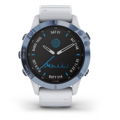 Monitor aktivity GARMIN-fenix 6 Pro Solar, Mineral Blue, Whitestone Band