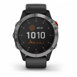 Monitor aktivity GARMIN-fenix 6 Solar, Silver, Black Band