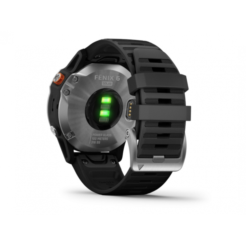 Monitor aktivity GARMIN-fenix 6 Solar, Silver, Black Band -