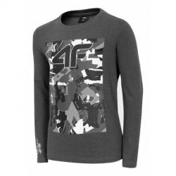 Chlapčenské tričko s dlhým rukávom 4F-BOYS LONGSLEEVE-HJZ20-JTSML001-23M-DARK GREY MELANGE