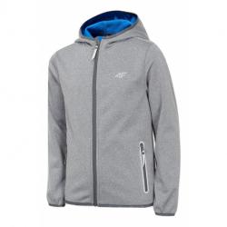 Chlapecká lyžařská softshellová bunda 4F-BOYS SOFTSHELL-HJZ20-JSFM001-25M-GREY MELANGE