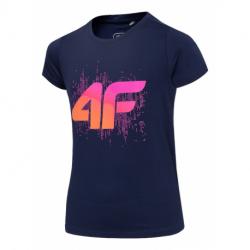 Dievčenské tréningové tričko s krátkym rukávom 4F-GIRLS T-SHIRT-HJZ20-JTSD010A-31S-NAVY