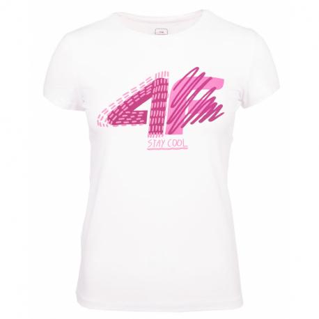 Dievčenské tričko s krátkym rukávom 4F-GIRLS T-SHIRT-HJZ20-JTSD003-10S-WHITE