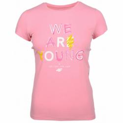 Dievčenské tričko s krátkym rukávom 4F-GIRLS T-SHIRT-HJZ20-JTSD002-56S-LIGHT PINK