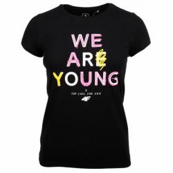 Dívčí tričko s krátkým rukávem 4F-GIRLS T-SHIRT-HJZ20-JTSD002A-20S-DEEP BLACK