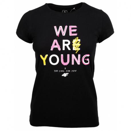 Dievčenské tričko s krátkym rukávom 4F-GIRLS T-SHIRT-HJZ20-JTSD002A-20S-DEEP BLACK