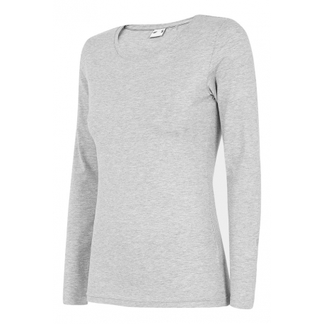 Dámske tričko s dlhým rukávom 4F-WOMENS LONGSLEEVE-NOSH4-TSDL001-27M-COLD LIGHT GREY MELANGE