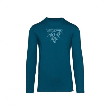 Pánske turistické tričko s dlhým rukávom NORTHFINDER-VANPY-281 Blue