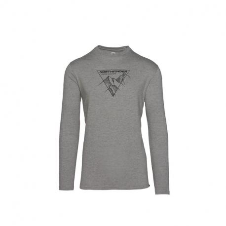 Pánske turistické tričko s dlhým rukávom NORTHFINDER-VANPY-319 Grey