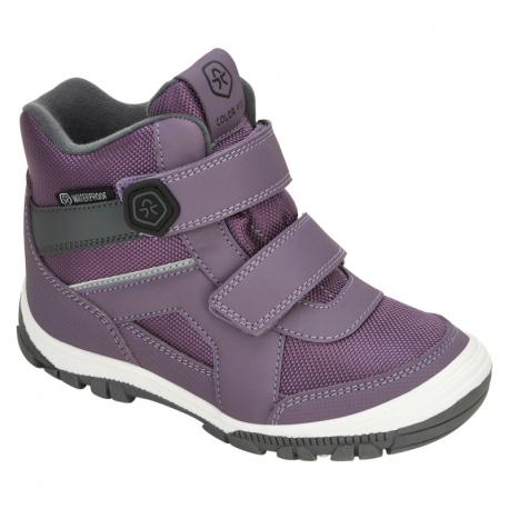 Dívčí zimní boty nízké COLOR KIDS-Boots Low Cut, W. Two velcro-Arctic Dusk