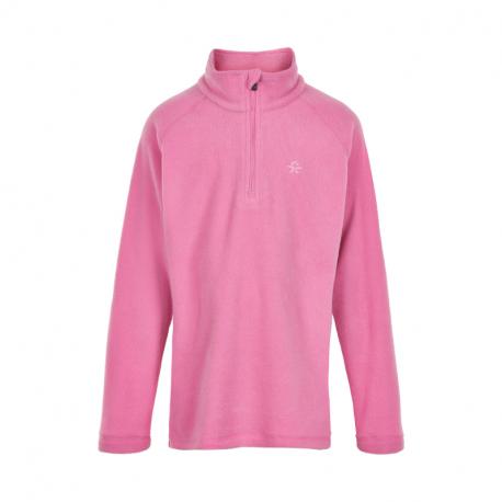 Dievčenská lyžiarska flisová mikina COLOR KIDS-Fleece pulli, Solid-Fuchsia Pink