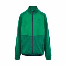 Chlapčenská flisová mikina so zipsom COLOR KIDS-Fleece jacket w/Effect-Golf Green