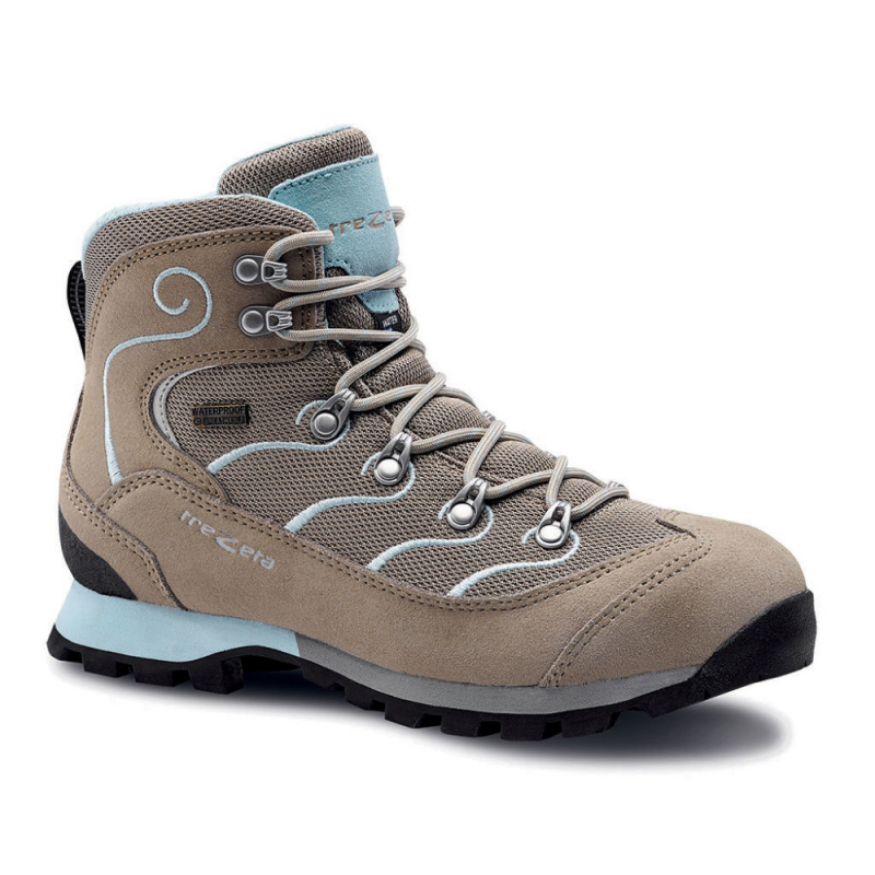 Dámska turistická obuv vysoká TREZETA-GLITTER WP BEIGE WATER BLUE -