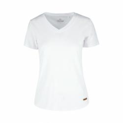 Dámske tričko s krátkym rukávom V-golier VOLCANO-T-MORILEE-100-WHITE