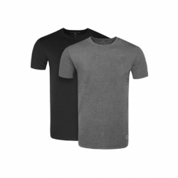 Pánske tričko s krátkym rukávom VOLCANO-T-CLONE-700+705M-BLACK+GREY MEL