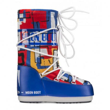 Dětské zimní boty vysoké MOON BOOT-JR Boy Abstract blue / yellow