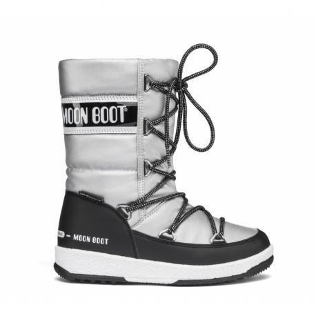 Juniorské zimné topánky vysoké MOON BOOT-JR Firl Quilted WP silver/black