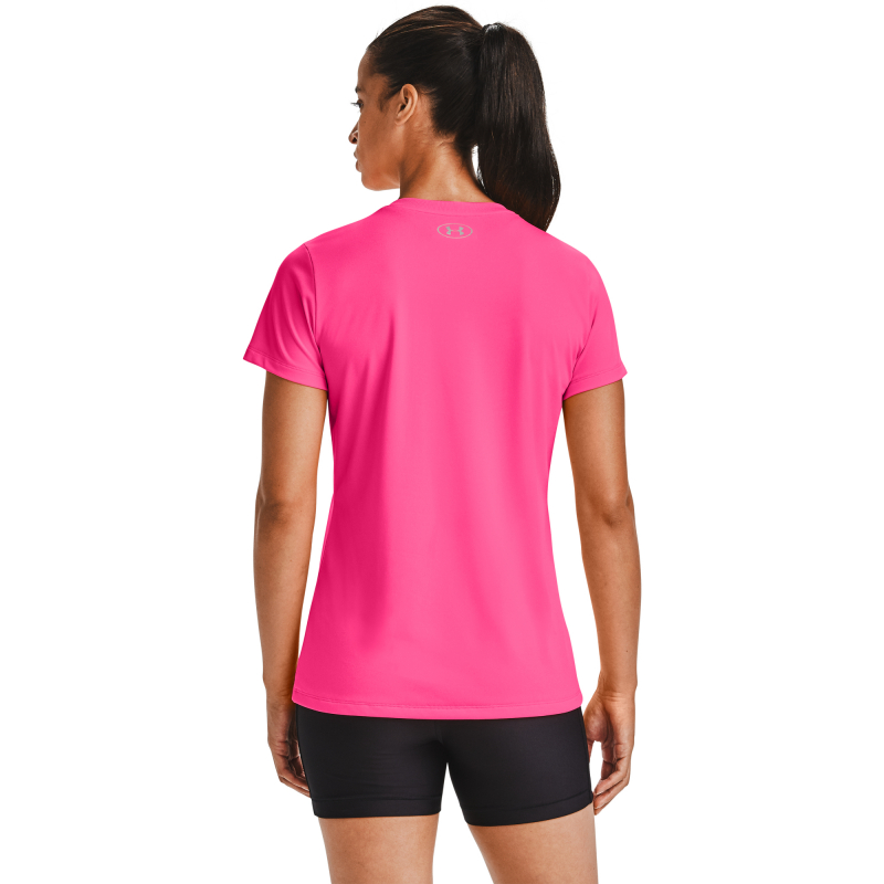Dámske tréningové tričko s krátkym rukávom UNDER ARMOUR-Tech SSV - Solid-PNK 653 -