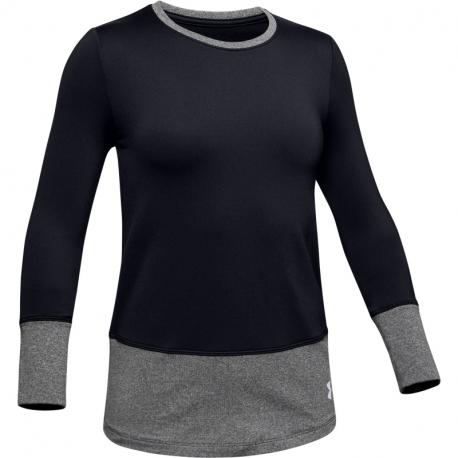 Dievčenské tréningové tričko s dlhým rukávom UNDER ARMOUR-ColdGear LS Crew-BLK
