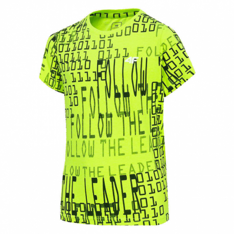 Chlapčenské tričko s krátkym rukávom 4F-BOYS-T-SHIRT-HJZ20-JTSM009-72N-Lemon Neon