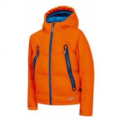 Chlapčenská lyžiarska bunda 4F-BOYS SKI JACKET-HJZ20-JKUMN003A-70N-ORANGE NEON