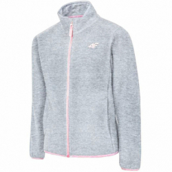 Dievčenská flisová mikina so zipsom 4F-GIRLS FLEECE-HJZ20-JPLD001B-27M-COLD LIGHT GREY MELANGE