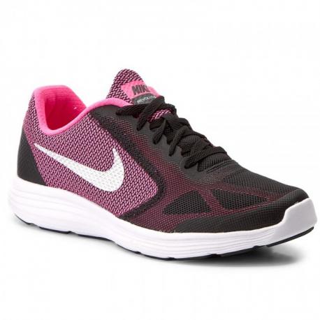 Juniorská sportovní obuv (tréninková) NIKE-Revolution 3 black / mtllc slvr / Hypro pnk
