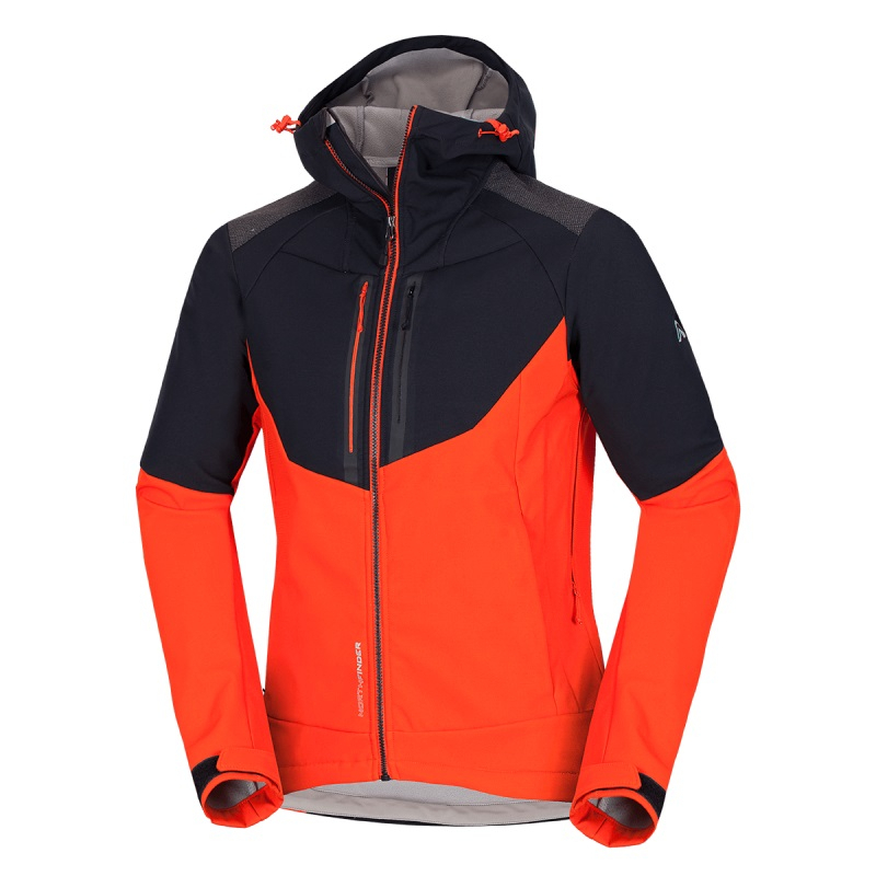 Pánska turistická softshellová bunda NORTHFINDER-BROSDY-463 Black -