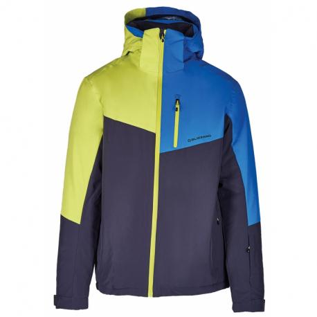 Pánská lyžařská bunda BLIZZARD-Mens Ski Jacket Cervinia, grey / bright blue / neon green