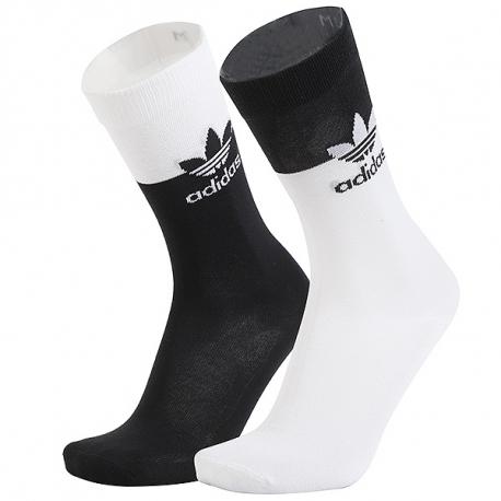 Pánske ponožky ADIDAS ORIGINALS-BLOCKED THN CRW-WHITE/BLACK 2 PCK