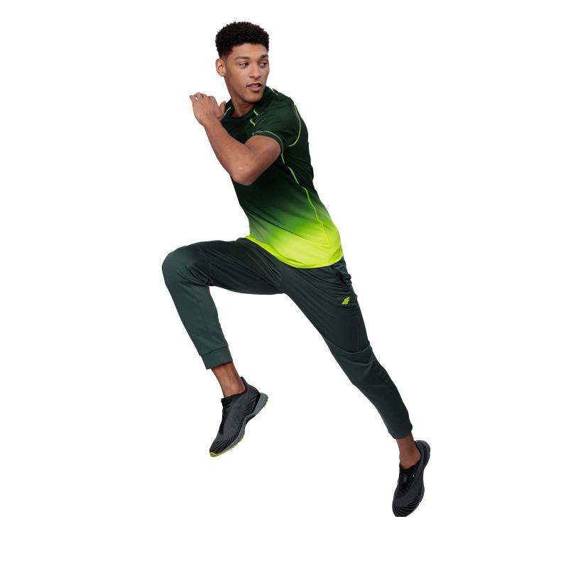 Pánske tréningové tričko s krátkym rukávom 4F-MENS FUNCTIONAL T-SHIRT-H4L21-TSMF014-45N-CANARY GREEN NEON -