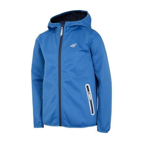 Chlapecká turistická softshellová bunda 4F-BOYS-softshell-HJL21-JSFM001-36S-Blue