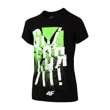 Chlapecké tričko s krátkým rukávem 4F-BOYS-t-shirt-HJL21-JTSM004A-20S-Black
