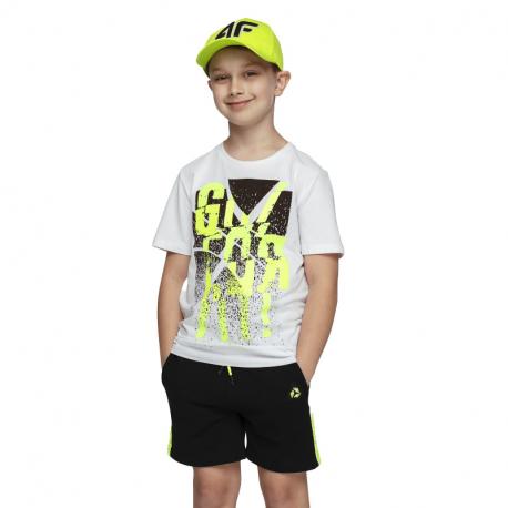 Chlapecké tričko s krátkým rukávem 4F-BOYS-t-shirt-HJL21-JTSM004-10S-White
