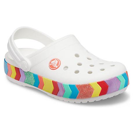 Detské kroksy (rekreačná obuv) CROCS-Crocband Chevron Beaded Clog K white