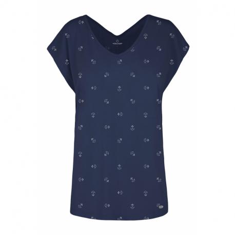 Dámske tričko s krátkym rukávom V-golier VOLCANO-T-FOLK-NAVY