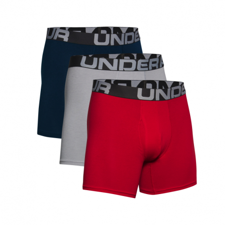 Pánske boxerky UNDER ARMOUR-UA Charged Cotton 6in 3 Pack-RED