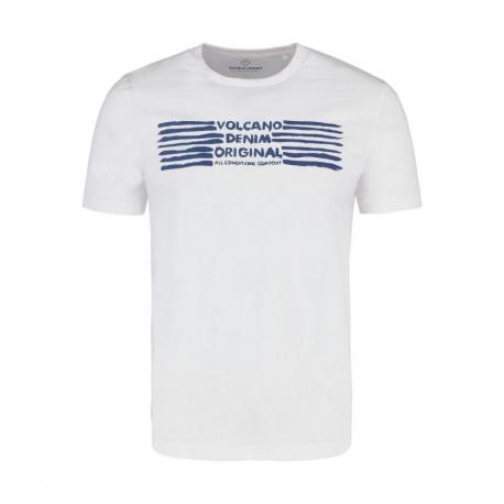 Pánske tričko s krátkym rukávom VOLCANO-T-DENIM-WHITE