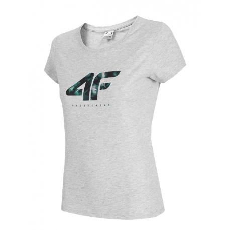 Dámské triko s krátkým rukávem 4F-WOMENS T-SHIRT-H4L21-TSD030-27M-COLD LIGHT GREY MELANGE