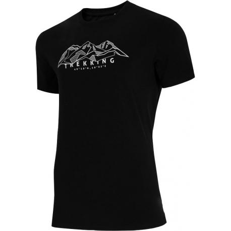 Pánske turistické tričko s krátkym rukávom 4F-MENS T-SHIRT-H4L21-TSM062-20S-DEEP BLACK