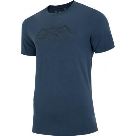 Pánske turistické tričko s krátkym rukávom 4F-MENS T-SHIRT-H4L21-TSM062-32S-DENIM
