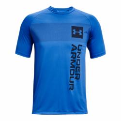Pánske tréningové tričko s krátkym rukávom UNDER ARMOUR-UA TECH 2.0 VERT WRDMRK SS-BLU