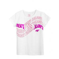 Dievčenské tričko s krátkym rukávom 4F-GIRLS-t-shirt-HJL21-JTSD001-10S-White