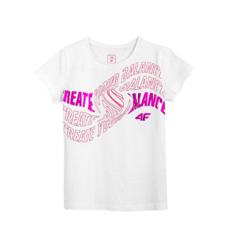 Dívčí tričko s krátkým rukávem 4F-GIRLS-t-shirt-HJL21-JTSD001-10S-White