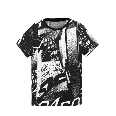 Chlapčenské tričko s krátkym rukávom 4F-BOYS-t-shirt-HJL21-JTSM005-10S-White
