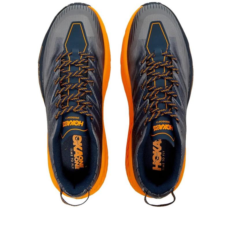 Pánska bežecká trailová obuv HOKA ONE ONE-Speedgoat 4 black iris/bright marigold (EX) -